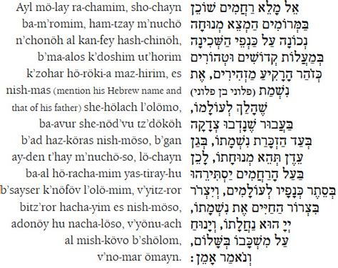 Seven Wedding Blessings Reform by Kel Maleh Rachamim Prayer For The Soul Of The Departed