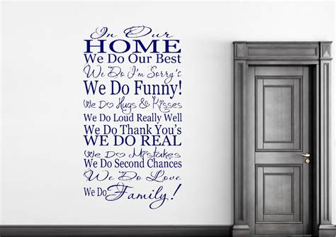in our home we do family text quotes wall stickers