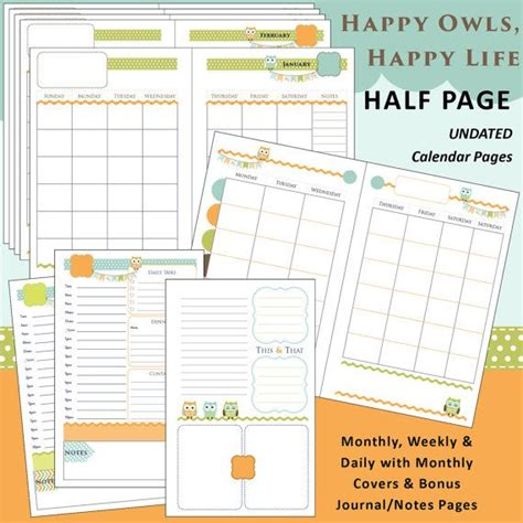 printable monthly journal covers limited edition undated printable planner happy owls
