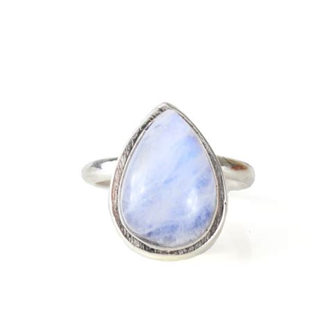 large statement sterling silver teardrop moonstone ring by