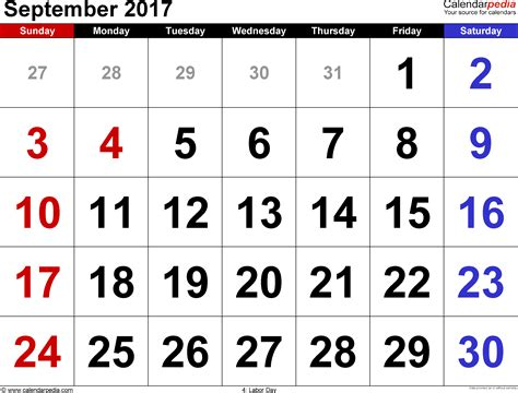 Calendar For September 2017 September 2017 Calendars For Word Excel Pdf