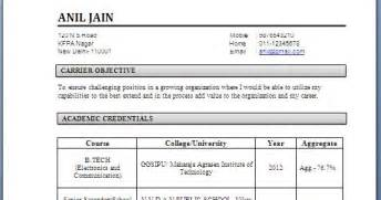 Best Resume Format For Be Ece Freshers by Electronics And Communication Engineering Resume Samples