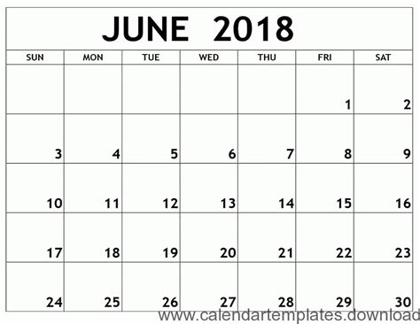 printable calendar 2018 june printable calendar june 2018 template download free