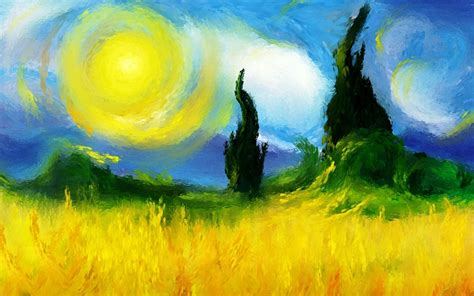 painting hd painting field trees sun sky nature wallpaper 1920x1200