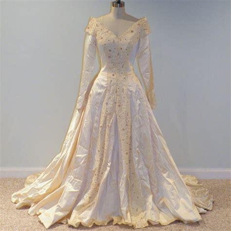 1940s 40s Wedding Dress Ivory Cream Duchess Satin Full Length