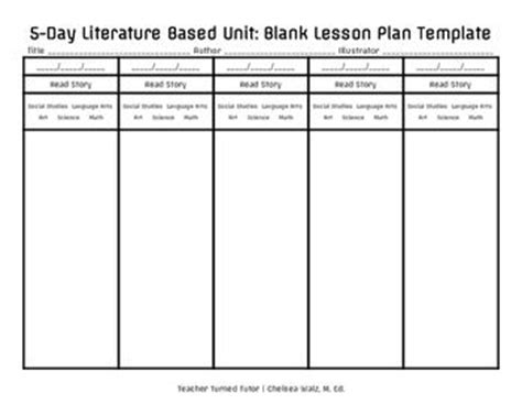 5 day lesson plan template 5 day literature based unit blank lesson plan template