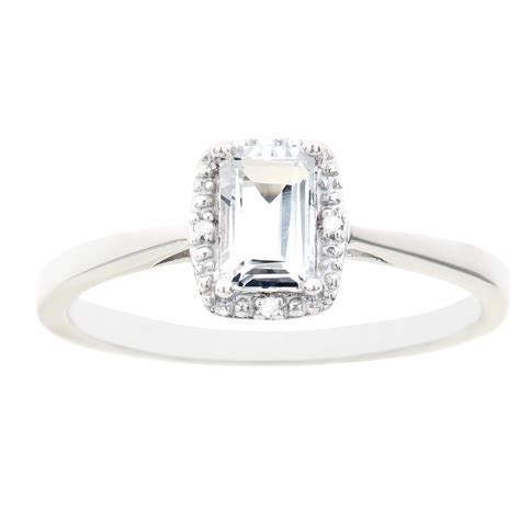 sterling silver 6x4mm emerald cut white topaz with