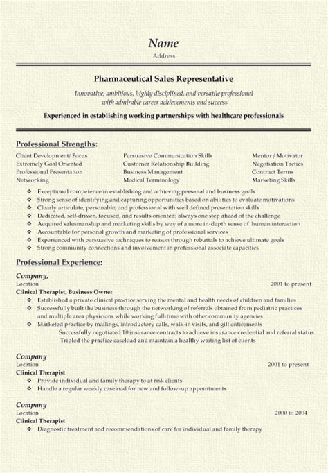 Resume Sles For Pharma Industry Pharmaceutical Sales Resume Exle
