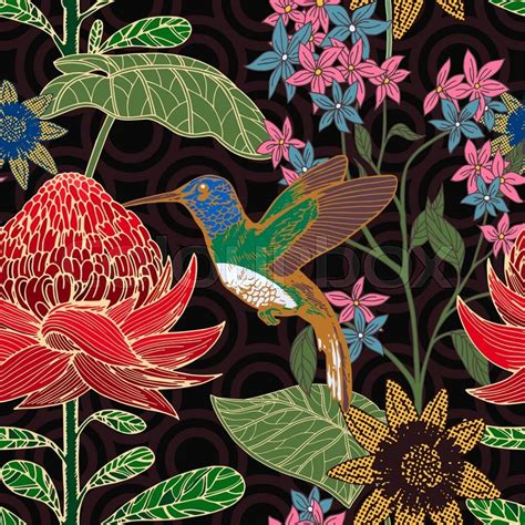 beautiful fabrics for upholstery vintage style tropical bird and flowers background