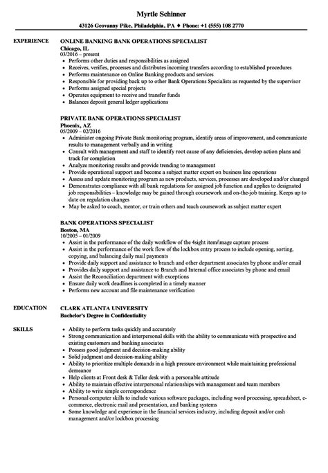 bank operations specialist resume sles velvet