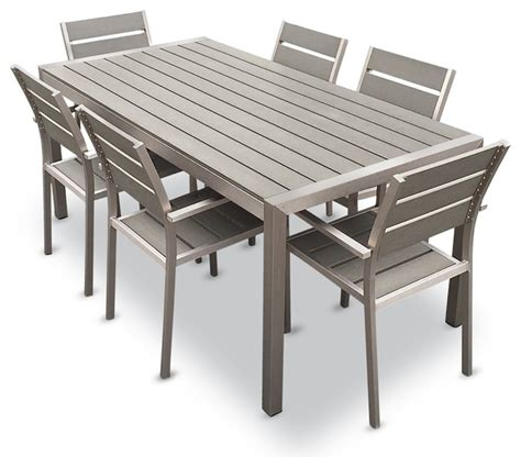 Patio Furniture Table And Chairs Set Flynn 7 Outdoor Dining Set Aluminum And Resin Contemporary Outdoor Dining Sets By