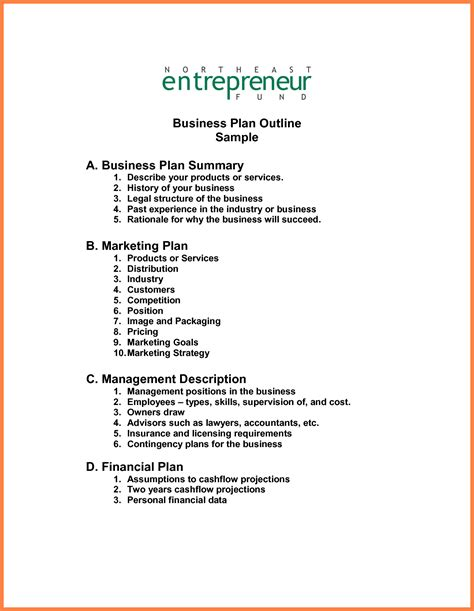 business plan outline template 8 exles business plan outline bussines 2017