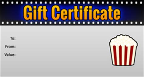 printable movie gift cards gift template select a gift certificate template to