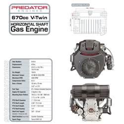 22 hp 670cc v horizontal shaft gas engine epa