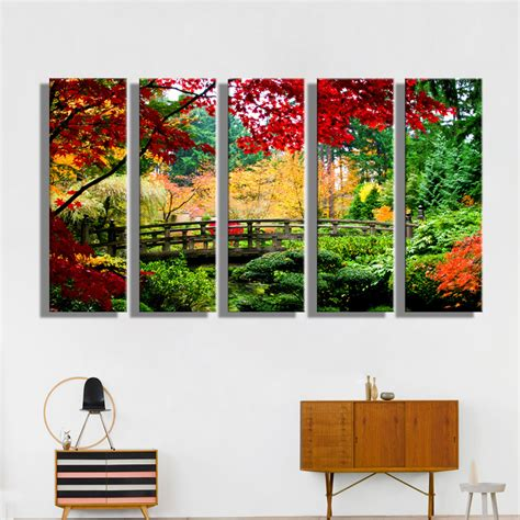 canvas prints home decor oil painting canvas forest bridge landscape wall art