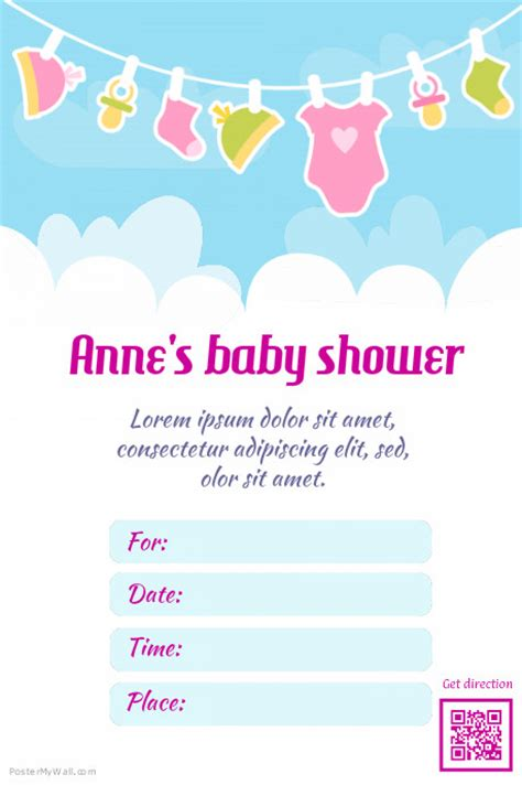 baby shower flyer template poster template