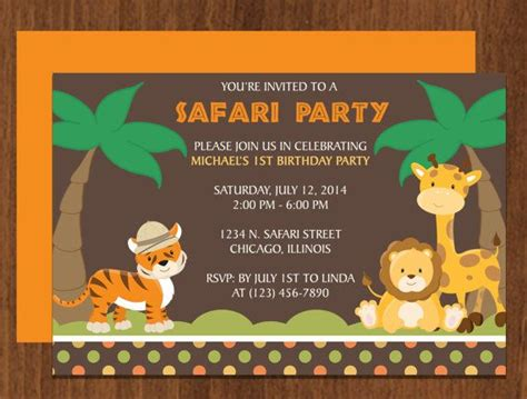 Safari Party Invitation Editable Template Microsoft Word Format Boy Parties Pinterest Safari Invitation Template Free