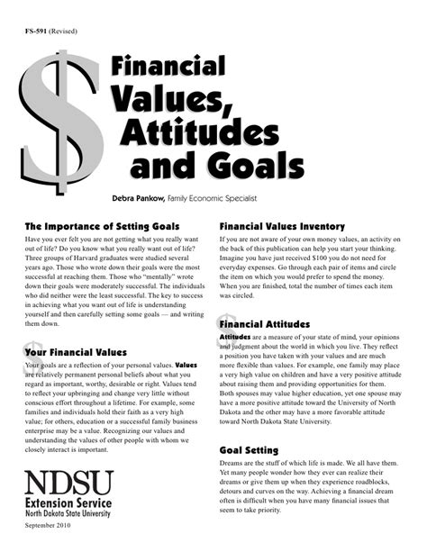 values and goals worksheet financial values attitudes and goals worksheet