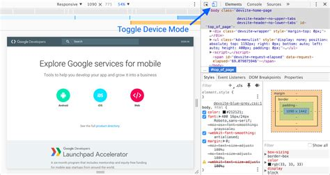 chrome developer mode simulate mobile devices with device mode tools for web