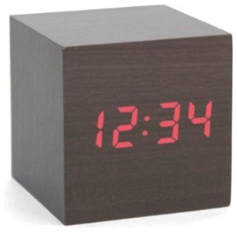 modern alarm clock design kikkerland clap on cube alarm clock wood modern alarm clocks by