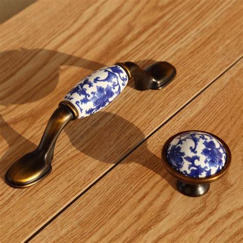 white bronze pulls 76mm retro blue and white porcelain dresser kithcen