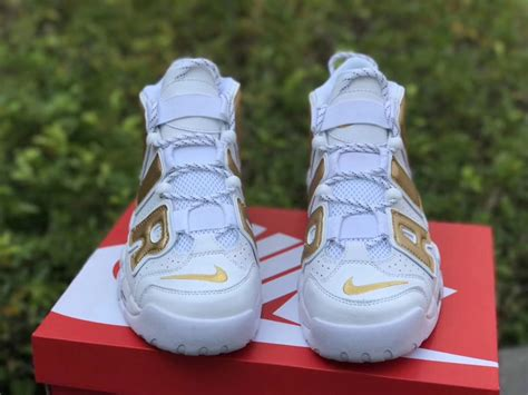 Nike Air More Up Tempo Gold White look nike air more uptempo white gold sneakerwhorez