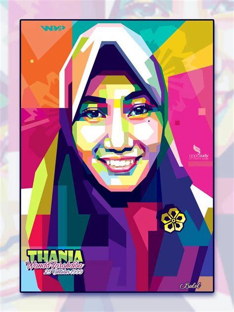 Tutorial Wpap Hijab | wpap hijab wpap vector hijab portrait illustration