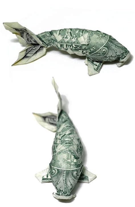 Origami Fish Dollar - origami carp made from a dollar bill tis better to