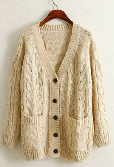 how to wear a knitted cardigan beige sleeve v neck cable knit cardigan shein sheinside