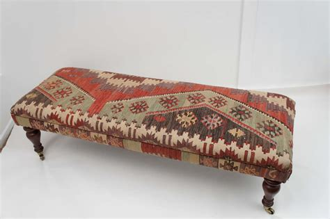 kilim benches and ottomans custom ottoman bench upholstered with turkish kilim at 1stdibs