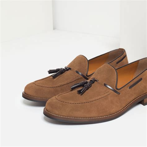 zara loafers zara split suede leather tassel loafers in brown lyst