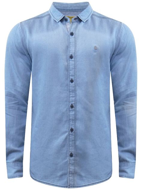 spykar light blue casual denim shirt msh 01ag 214 light