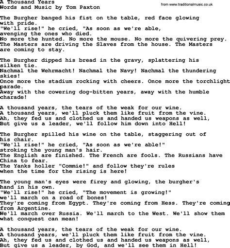 years lyrics a thousand years by tom paxton lyrics
