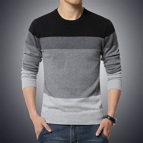 Sweater O Neck 24 2018 autumn casual s sweater o neck striped slim fit