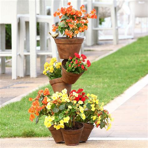 Topsy Turvy Planter Stand by Topsy Turvy 7 Stacked Pots Aluminum Garden And 50 Similar