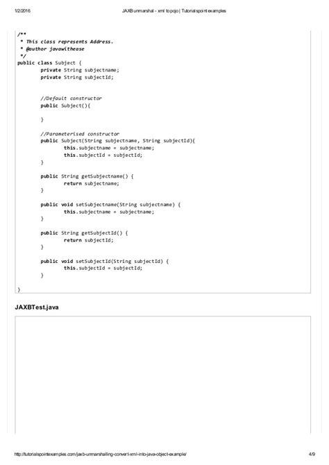 xml on tutorial point jaxb unmarshal xml to pojo tutorialspoint exles