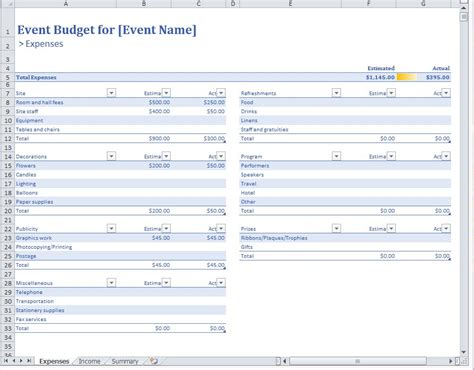 event budget template madinbelgrade