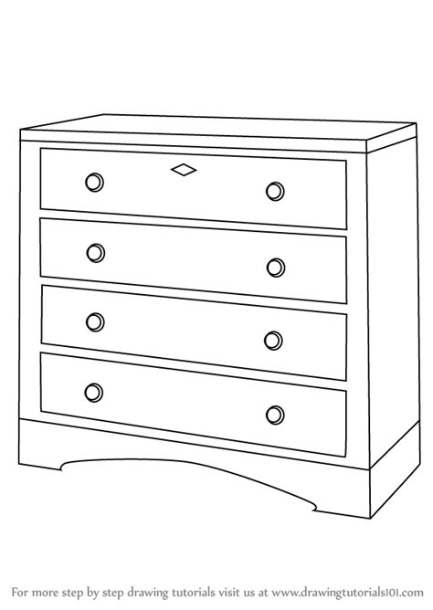 How To Draw 3d Furniture by Learn How To Draw A Chest Of Drawers Furniture Step By
