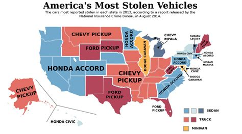most popular car brand by state map map the most stolen vehicle in every state vox