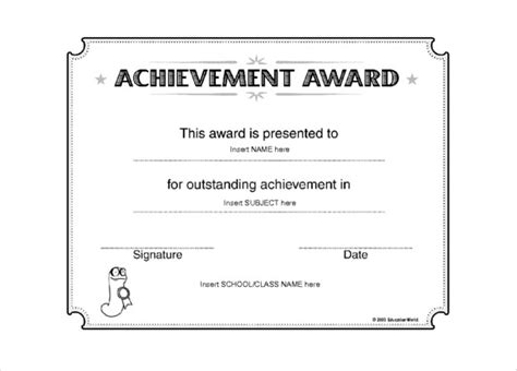 free certificate of achievement templates for word certificate of achievement template word