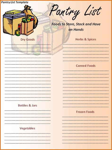 Pantry List Template by Free Printable Pantry List Template Scrapbooking