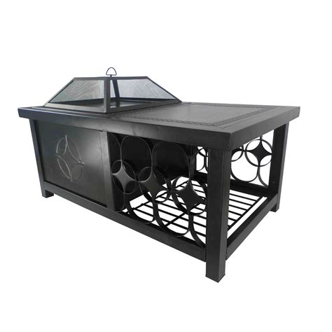 steel wood burning pit shop pleasant hearth 48 in w rubbed bronze steel wood