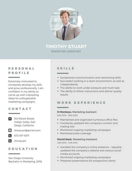 Photo On Resume by Customize 298 Professional Resume Templates Canva