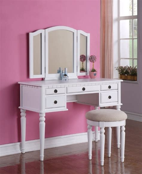 Makeup Vanity Table Australia 3 Pcs White Makeup Vanity Set With Stool In Westmont Los Angeles County Apartment Therapy