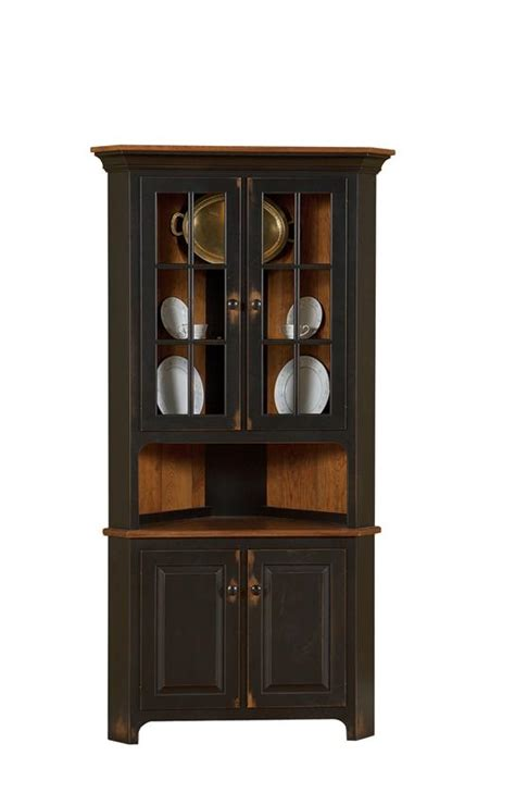 corner hutch cabinet for dining room amish plymouth corner hutch