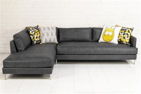 grey leather sectional www roomservicestore com slim jim sectional in grey faux