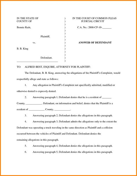 10 sle answer to complaint federal court ledger paper