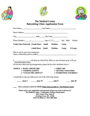 babysitting admission form fill printable fillable blank pdffiller