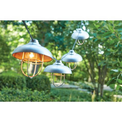 Outdoor Hanging Patio Lights Hton Bay 8 Light And Cage Outdoor Hanging Cafe String Light Kf93088 The Home Depot