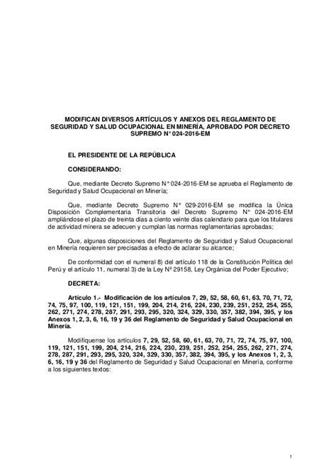 decreto supremo 024 2016 energia y minas prepublicaci 211 n proyecto de decreto supremo que modifica